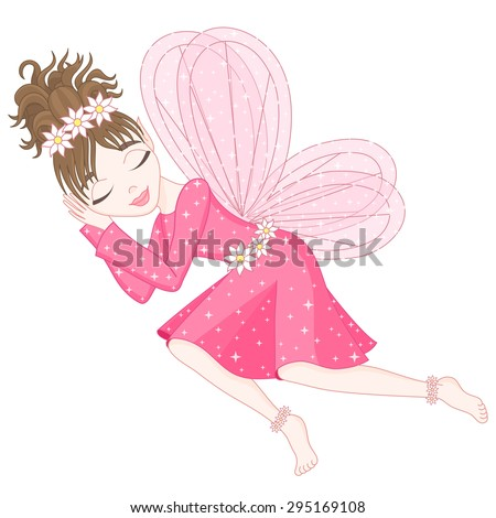 Cute fairy in bright pink dress with transparent wings is sleeping, vector illustration, eps 10 - stock vector
