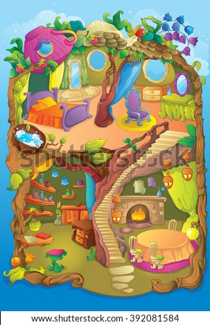 Cute Fairy Nature House - stock vector