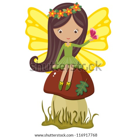 Cute fairy sitting on a mushroom with butterfly - stock vector