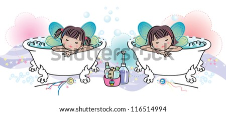 Cute fairy twins taking relaxing bubble baths. - stock vector