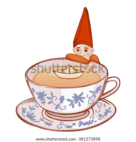 cute fairytale dwarf watching a paper ship in a cup of tea - stock vector