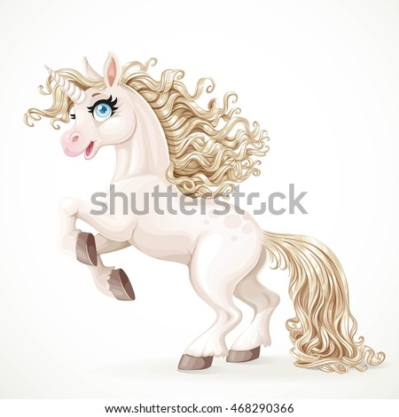Cute fairytale unicorn with golden mane rearing up isolated on a white background