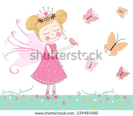 Cute fairytale with butterflies vector  - stock vector