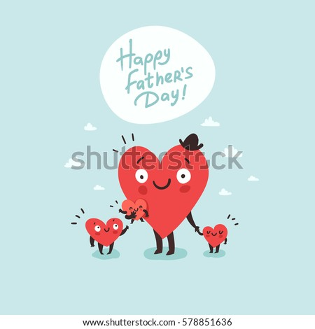 Cute Family Daddy Children Happy Fathers Stock Vector 578851636