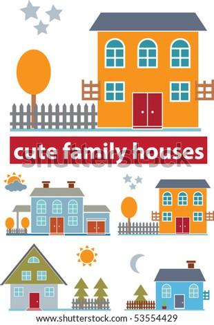 cute family houses. vector - stock vector