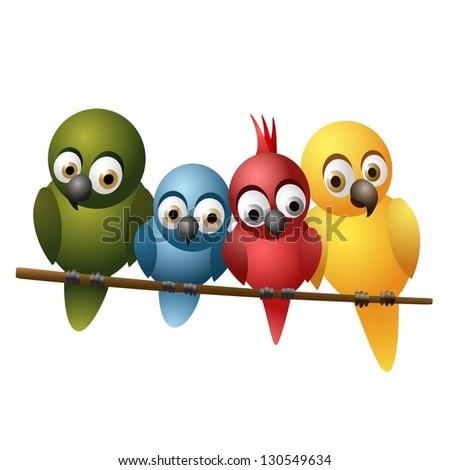 Cute family of birds - stock vector