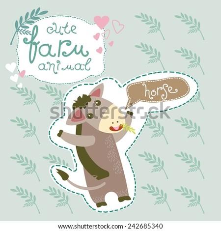 Cute Farm Animal. Horse. Vector. Set. Illustration. - stock vector