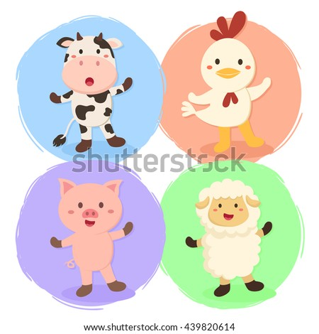 Cute Farm Animal Set. Vector illustration set of cow, chicken, sheep, and pig in colorful background. - stock vector