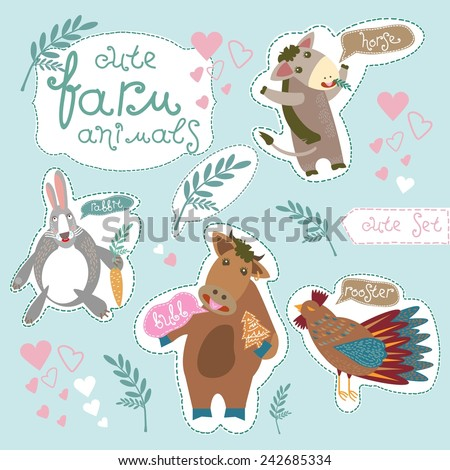 Cute Farm Animals. Horse, rooster, bull (ox), and rabbit. Vector. Set. Illustration. - stock vector