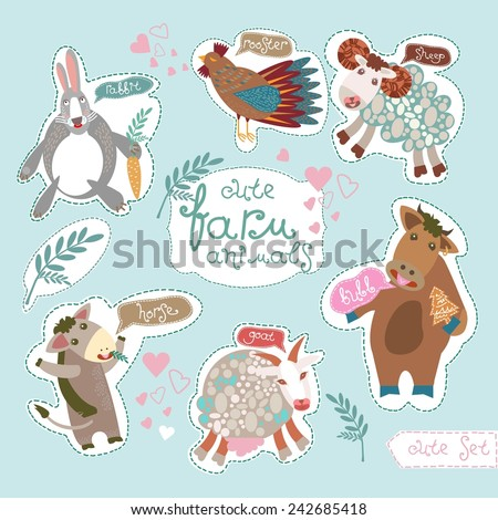 Cute Farm Animals. Horse, rooster, sheep, bull (ox), rabbit and goat. Vector. Set. Illustration. - stock vector