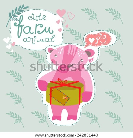 Cute farm animals. Pig with a gift. Vector. Illustration. - stock vector