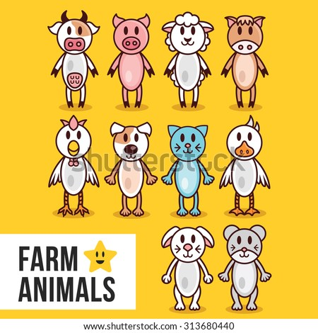 Cute farm animals set. Cow, pig, sheep, horse, cock, cat, dog, goose, rabbit and mouse.  Flat line illustrations. Isolated on yellow background