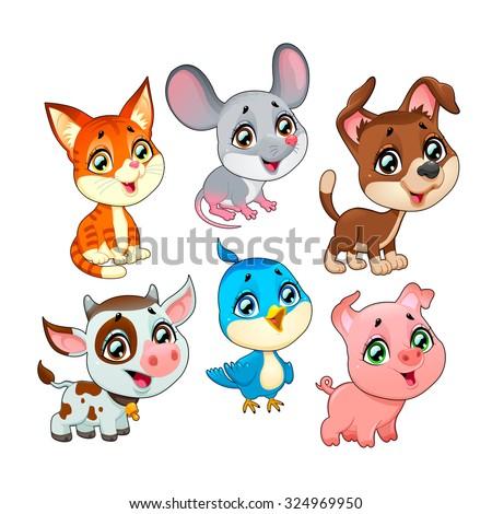 Cute farm animals. Vector cartoon isolated characters. - stock vector