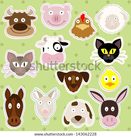 Cute Farm Animals - Vector Illustration Set - stock vector