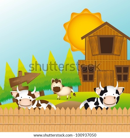 cute farm with cow and horse, cute landscape. vector - stock vector