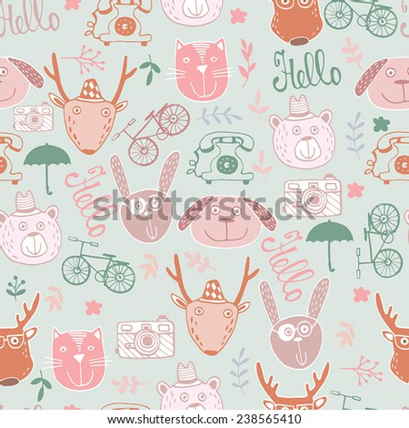 Cute fashion Hipster Animals & pets, set - stock vector