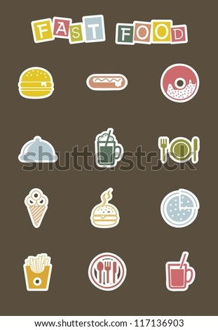 cute fast food icons over brown background. vector