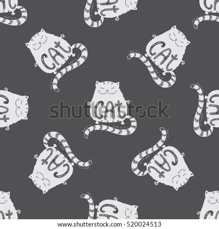 Cute fat cat seamless pattern, funny hand drawn on dark background, stock vector illustration