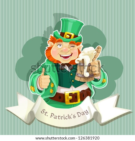 Cute fat Leprechaun with a pot of ale froth - stock vector