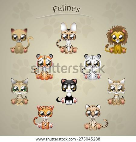 Cute felines collection vector illustration art - stock vector