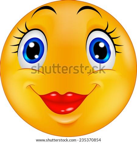 Cute female emoticon smiley - stock vector