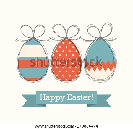 Cute festive painted easter eggs with hand drawn contours. Happy Easter! Vector image.