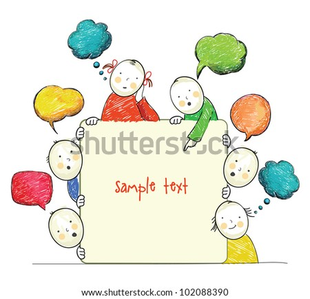 Cute figures with banner, vector - stock vector