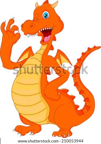 cute fire dragon cartoon waving - stock vector