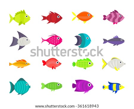 Cute fish underwater vector illustration icons set. Flat style sea life animals. Tropical characters, aquarium  isolated on white background