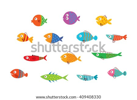 cute fish vector collection - stock vector
