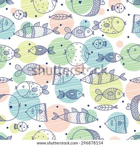 Cute fish. Vector seamless pattern. - stock vector