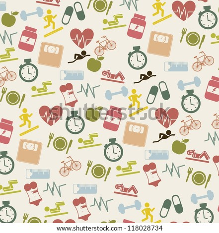 cute fitness icons over beige background. vector illustration - stock vector