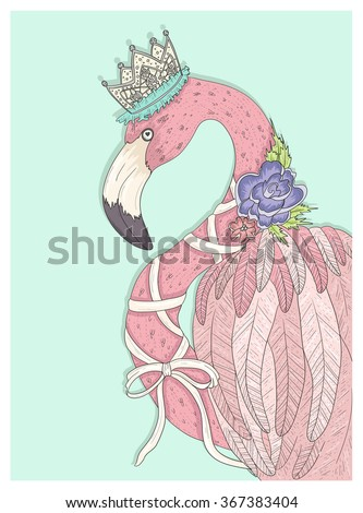 Cute flamingo with flower, crown and ribbon. Fairytale vector illustration for kids or children. - stock vector
