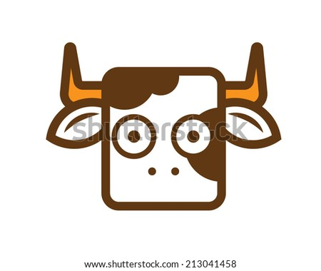 Cute flat cow icon - stock vector