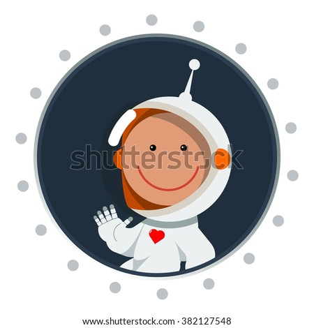 Cute flat style astronaut with heart label. Postcard for valentine's day as cosmic love sign. Spaceman eps. Space vector illustration. - stock vector