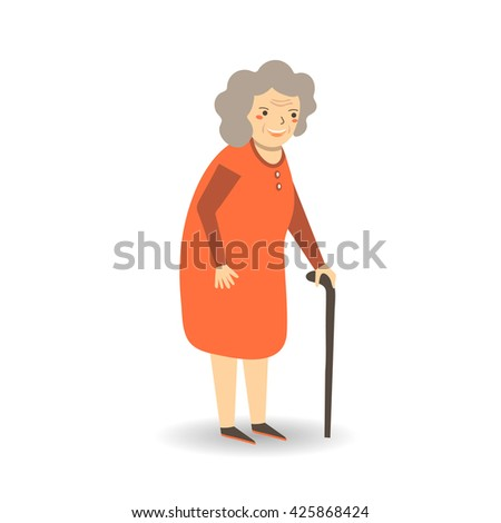 Cute flat style old lady, woman, grandmother in red dress with stick. Grandmother, old lady character icon, background
