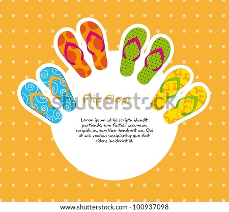 cute flip flops with space for copy over orange background. vector - stock vector