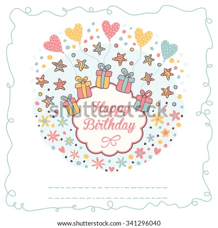 Cute floral birthday card with flowers and gifts.