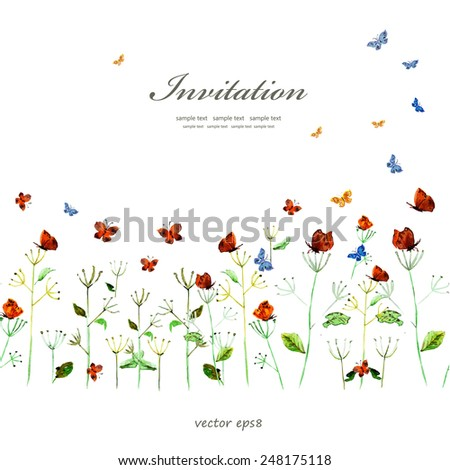 cute floral border with butterflies. watercolor - stock vector