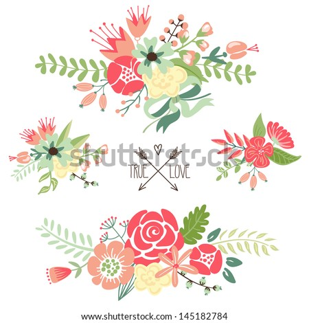 Cute floral bouquets, retro flowers - stock vector