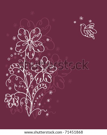 Cute floral  card with bird - stock vector