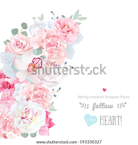 Cute floral crescent shape vector frame with peony, orchid, hydrangea, rose, camellia, blue berry, eucalyptus. Pink and white wedding flowers. All elements are isolated and editable.