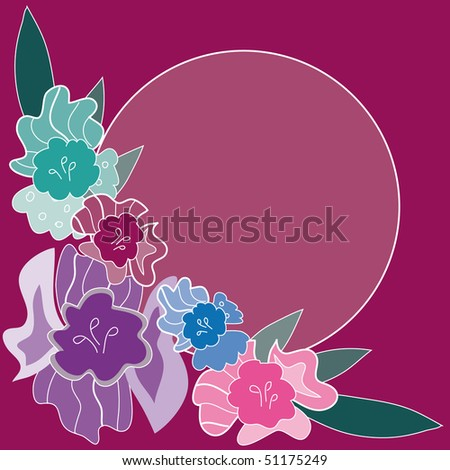 Cute floral frame on a purple background