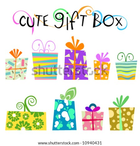 cute floral gift box vector - stock vector
