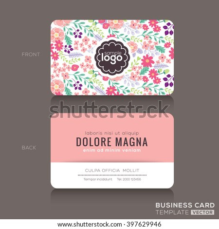Cute Floral Pattern Business Card Name Stock Vector