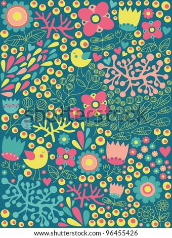 cute floral pattern. vector illustration - stock vector