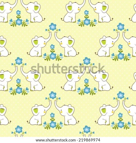 Cute floral seamless pattern with elephants. Childish vector background. Baby pattern. - stock vector