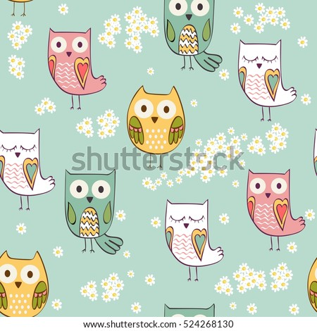 Cute floral seamless pattern with owls