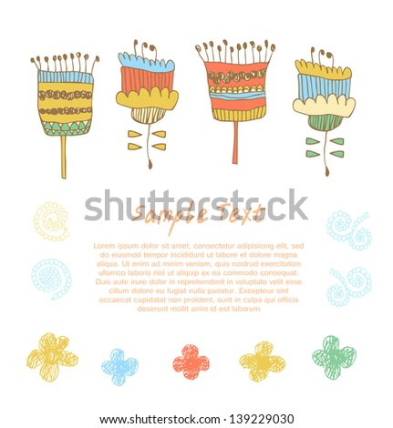 Cute floral set. Doodle collection of spring  flowers. Decorative blooming elements for cards, banners, banners, arts - stock vector