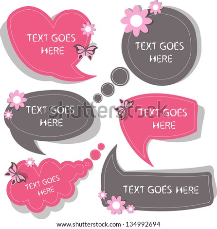 cute floral speech bubbles - stock vector
